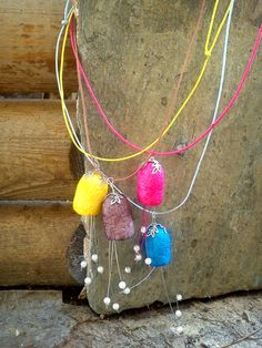 handmade silk cocoons necklaces No74