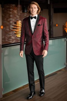 Why blend in when you can stand out in the Apple Red Aries Paisley Tuxedo at your next formal affair. The Aries features a black satin shawl lapel, double. Tuxedo Coat, Black Tuxedo, Tuxedo For Men, Black Suits, Tuxedo Jackets, Build A Tux, Men's Tuxedo Styles, Hot Suit, Slim Fit Tuxedo