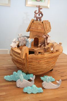 Hand crafted/Hand painted Wooden Noah's Ark and by coffeycreations. , via Etsy.
