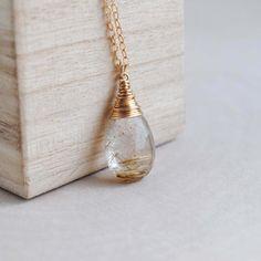 Rutilated Quartz Necklace Golden Rutilated by SongYeeDesigns