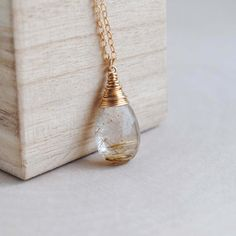 Rutilated Quartz Necklace Golden Rutilated by SongYeeDesigns