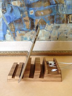 Macbook and iPad Stand - Wood Charging Station - Laptop docking station, Lap desk, Kindle Stand, laptop desk, laptop stand, laptop cradle.