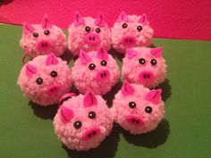 Happy New Year! Year Of The Pig, Pigs, Happy New Year, Baby Shower, Christmas, Crafts, Pom Poms, Manualidades, Babyshower