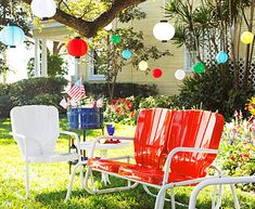 ...vintage style patio furniture- I've always LOVED these old metal shell chairs from the 40s and 50s!!