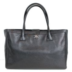 Chanel Black Cerf Tote with Silver CC