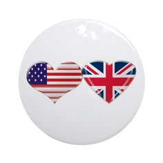 USA and UK Heart Flag Ornament (Round) on CafePress.com