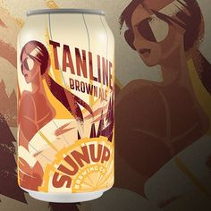 Sunup Brewing Co's Tanline Brown Ale can design by The Brandit http://thebrandit.com/#work-sunup-brewing #sunupbrewingco #thebrandit #thedieline #checkoutourcans #azbrewery #choseazbrews #beer