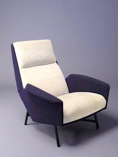 Christian Defrance and Geneviève Dangles; Enameled Iron Base Lounge Chair, 1950s.