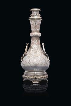 Of vase form, decorated overall with arabesques, the underside of foot stamped 'CHRISTOFLE' and in. Clay Pots, Arabesque, Online Art, Design Elements, Persian, Perfume Bottles, Copper, Design Inspiration, Bronze