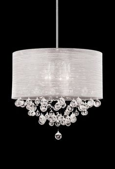 New 4 Lamp Crystal Chandelier Pendant Dia 20 Silk Drum Shade Ceiling Light Contemporary