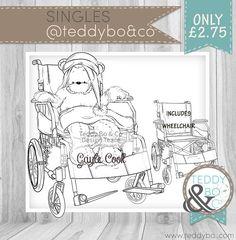 Bionic Bea Wheelchair superhero Bear DIGI STAMP