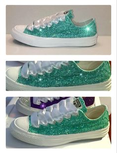 Women's Converse all star shoes handmade Sparkly glitter mint green spearmint pastel chucks sneakers tennis wedding bride prom dance by CrystalCleatss on Etsy All Star Shoes, Converse All Star, Women's Converse, Disney Converse, Custom Converse, Glitter Converse, Glitter Shoes, Sparkly Shoes, Bling Shoes