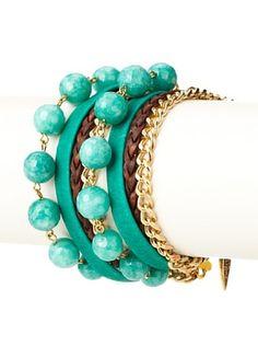 65% OFF Sara Designs Green Stone Double-Wrap Bracelet