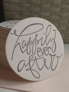 Happily Ever After Letterpress Coasters Wedding by GreySnailPress