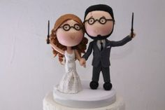 harry potter wedding cake topper magical couple