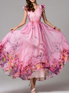 Summer Floral Print Short Sleeve Maxi Dress