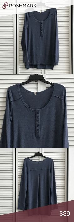 🆕Re-posh blue Henley top, NWOT. Re-posh from the lovely closet of @cjackson3078 which was a reposh from the lovely closet of @mrsalliexo. New, no tags. Size large. So soft and cozy just a bit too big for me. Pit 22 inches, front 29, back 33. 50% poly, 50% rayon. Smoke free home. Tops Tees - Long Sleeve