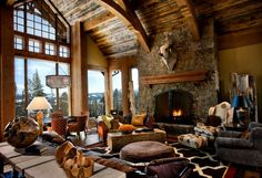 Rugged mountain architecture infused with striking colors, captivating shapes and modern-rustic design in this beautiful Montana retreat. Chalet Interior, Country Interior Design, Rustic Design, Wine Design, Cabin Design, Eclectic Living Room, Cozy Living Rooms, Living Room Designs, Living Area