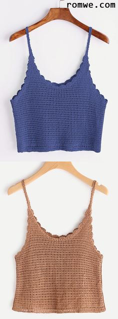 Blue Scalloped Hem Knitted Cami Top