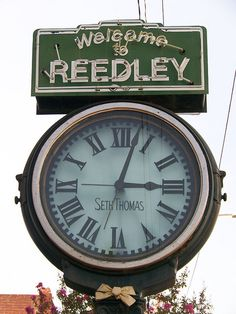 Downtown Reedley - Old Seth,   This beautiful town clock is located in the 1100 block of G Street. It was crafted by Hie Seth Thomas Clock Company in the early 1920's. M.A. Furlong, a jeweler in town ordered the clock in 1920, and it arrived in Reedley in 1921. The cost was $1,000.00 plus freight.