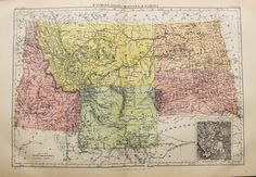 Antique State Map of Wyoming Idaho Montana & by PaperPopinjay
