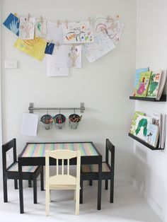 Fashion your own clothesline as a clever way to display your kids' drawings and collages. #decorating