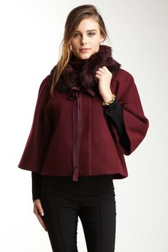 Tahari Nadja Faux Fur Collar Cape by Non Specific on @HauteLook