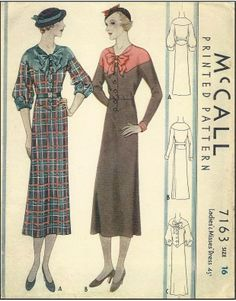 1930s Ladies Button Front Dress With Interesting Neckline - Sewing Pattern - McCall #7163