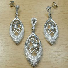 Micro Setting White CZ 925 Sterling Silver Marquise Shape Jewelry Set