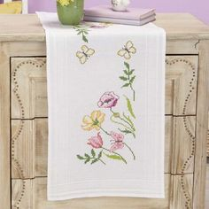 Village Linens™ Vibrant Blooms Table Runner Stamped Cross-Stitch