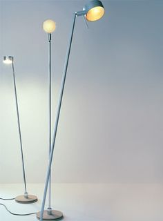 Floor lamp, with swivel mounted adjustable stem and rotating head,