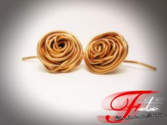 Wire Rose Earrings from Copper Wire