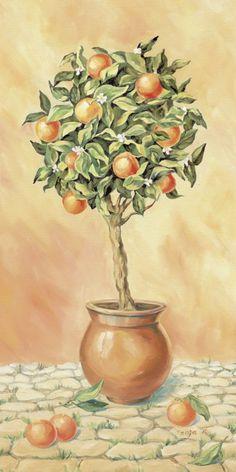 Tanja Kowak: Orangenbaum I - Kunstdruck - Poster 80 x 40 cm
