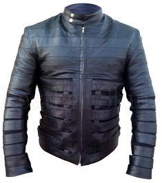 Ricky Martin Black Belted Biker Motorcycle Genuine Leather Jacket with Belts