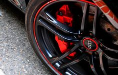 Black and red Audi rims. Red Audi, Most Popular Cars, Stopping Power, Sweet Cars, Small Cars, Car Wheels, Car Photography, Fast Cars, Custom Cars