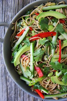 Chilled Noodle Salad with Ginger Wasabi Dressing  //  A fresh and delicious salad!