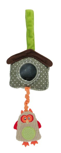 """Z'accroche maison chouette de la collection """"Promenons-nous dans les bois"""" par Latitude Enfant Jouet d'éveil ludique, doudou pour bébé, produit de puericulture."""