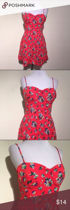 """Material Girl floral dress Cute red floral dress. It is lined. The bust is 28"""", the waist is 23"""" and the length is 29"""". The straps are adjustable. Material Girl Dresses Mini"""