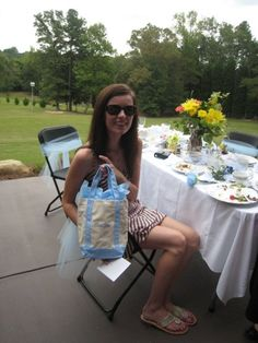 Sweet Heather showing off her bridesmaids gift.