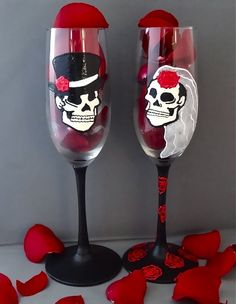 Gothic Wedding Champagne Flutes. These are the ultimate toast glasses!