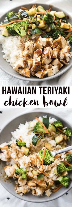 Hawaiian Teriyaki Chicken Bowls are delicious rice, chicken and veggie bowls with coconut rice, sauteed vegetables, and chicken topped with a sweet and spicy homemade teriyaki sauce! Teriyaki Chicken Bowl Recipe, Teriyaki Chicken And Rice, Sauce For Chicken, Homemade Teriyaki Sauce, Veggie Rice Bowl, Chicken Rice Bowls, Sauteed Vegetables, Chicken And Vegetables, Chicken Rice And Veggies Recipe