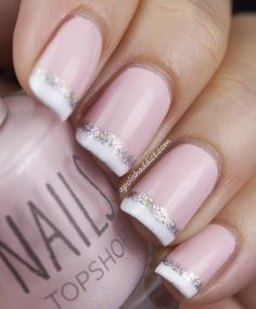 French Manicure with sparkles and soft pink