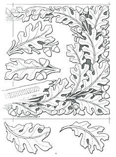 Oak leaf design More Leather Stamps, Leather Art, Leather Design, Leather Tooling, Custom Leather, Handmade Leather, Leather Jewelry, Leather Working Patterns, Leather Carving