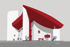 Notre Dame du Haut by Le Corbusier, 1955 Daniel Libeskind, Santiago Calatrava, Frank Gehry, Ronchamp Le Corbusier, Zaha Hadid, Office Works, Paper Architecture, Poster Colour, Joker