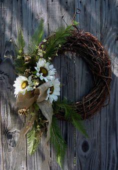 Summer Wreath- Sunflower Door Decor-Burlap. $49.00, via Etsy.