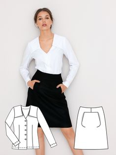 This skirt is very slick, and can be worn anywhere! It has an A-line silhouette, and pockets that are hidden behind the darts.