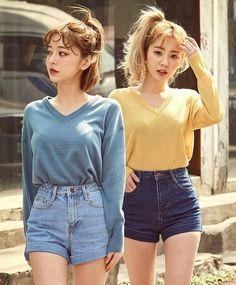 korean fashion casual street cuffed hem demin shorts vline blouse shirt blue yellow mustard korean f Korean Fashion Casual, Korean Fashion Trends, Ulzzang Fashion, Trendy Fashion, Korean Fashion Shorts, Japanese Fashion Street Casual, Korean Women Fashion, Cheap Fashion, Denim Fashion