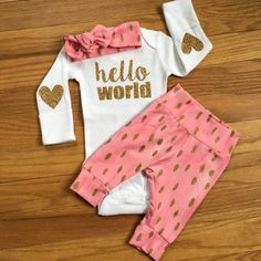 PREORDER newborn baby coming home outfit Pink and Gold Theme hello world girl going home set baby shower gift going home from hospital outfi