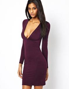 ASOS Deep Plunge Long Sleeve Bodycon Dress