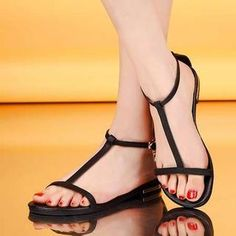Buy 'Pangmama – Genuine Leather Rhinestone T-Strap Sandals' with Free International Shipping at YesStyle.com. Browse and shop for thousands of Asian fashion items from China and more!